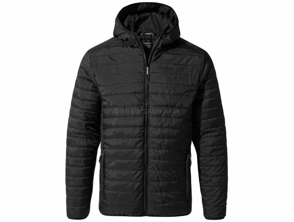 Craghoppers Compresslite III Hooded Jacket XXL, Black, Fully Windproof, Men's, Long Sleeve, Polyester