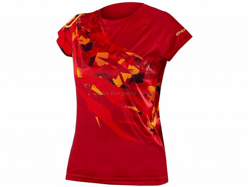 Endura SingleTrack Print Ltd Ladies Short Sleeve Jersey S,M,L, Red, Fast Wicking Fabric, Ladies, Short Sleeve, Polyester, MTB