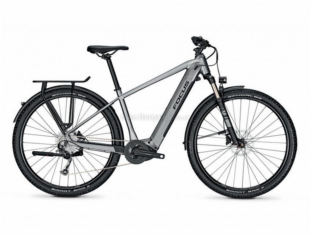 "Focus Aventura2 6.7 Alloy Electric Bike 2020 L, Grey, Black, Alloy Frame, Disc Brakes, 9 Speed, Men's,  , 29"" Wheels, Single Chainring"