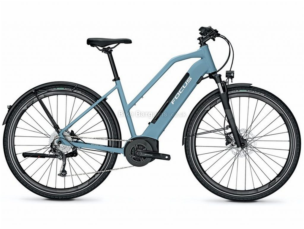 Focus Planet2 5.9 Step Thru Ladies Alloy Electric Bike 2020 S, Blue, Black, Alloy Frame, Disc Brakes, 9 Speed, Ladies, Acera Groupset, 700c Wheels, Single Chainring