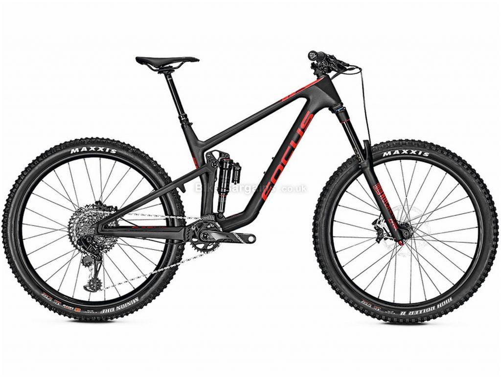 "Focus Sam 9.9 Carbon Full Suspension Mountain Bike 2019 17"", Black, Red, Carbon, Full Suspension, Disc Brakes, 12 Speed, 27.5"", Men's, Single Chainring"