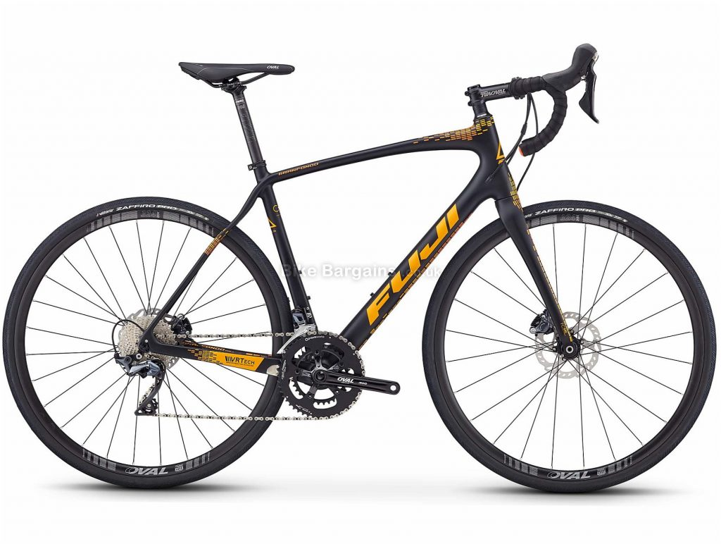 Fuji Gran Fondo 1.5 Road Bike 2020 54cm, Black, Orange, Carbon Frame, Disc Brakes, 22 Speed, Double Chainring, 700c Wheels, 8.82kg