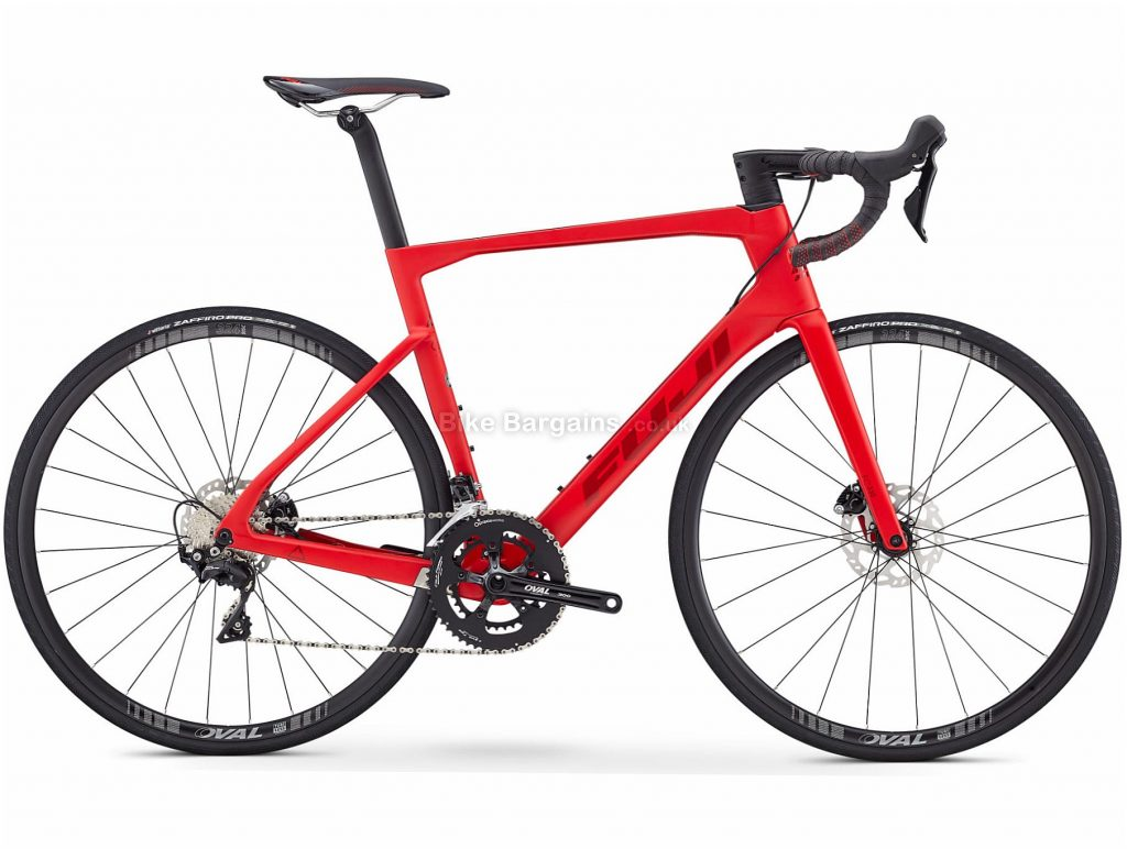 Fuji Transonic 2.5 Disc Road Bike 2020 49cm, Red, Carbon Frame, Disc Brakes, 22 Speed, Double Chainring, 700c Wheels