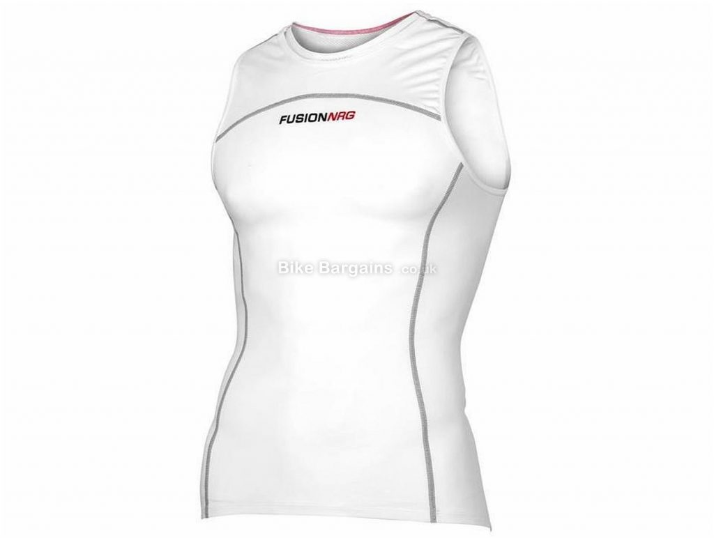 Fusion SLi Sleeveless Triathlon Top S,M, White, Black, Cooling Nrg Fabric, Men's, Sleeveless, Polyester, Elastane, Triathlon