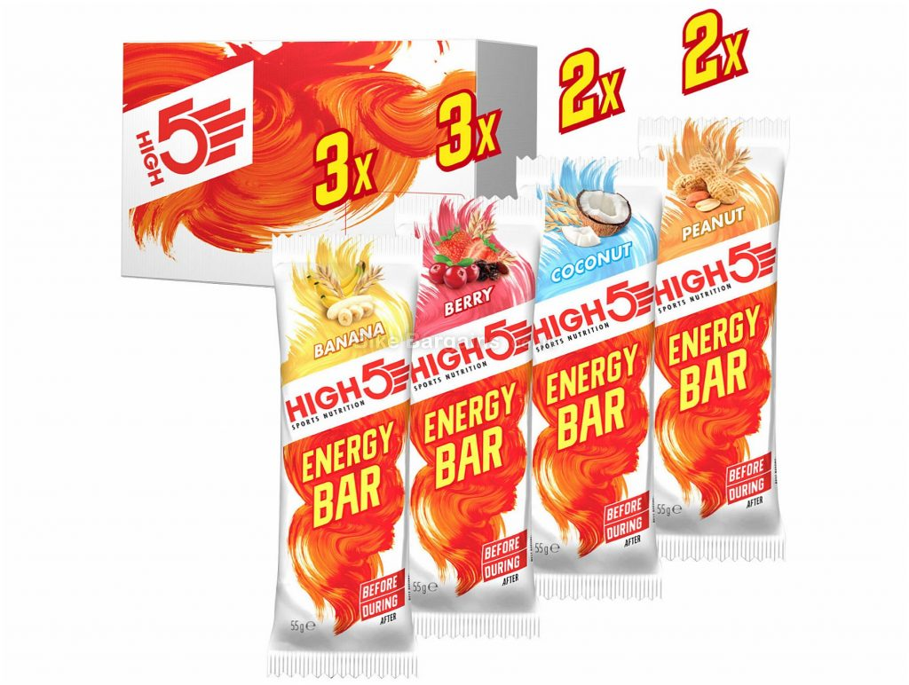 High5 Wiggle Mixed Energy Bar 10 Pack 10 pack, 55g, Banana, Berry, Coconut, Peanut, Red, Silver, 55g