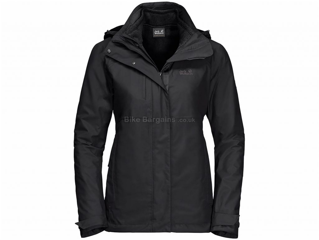 Jack Wolfskin Ladies Echo Pass Waterproof Jacket XL, Black, Windproof Waterproof, Long Sleeve, Polyamide