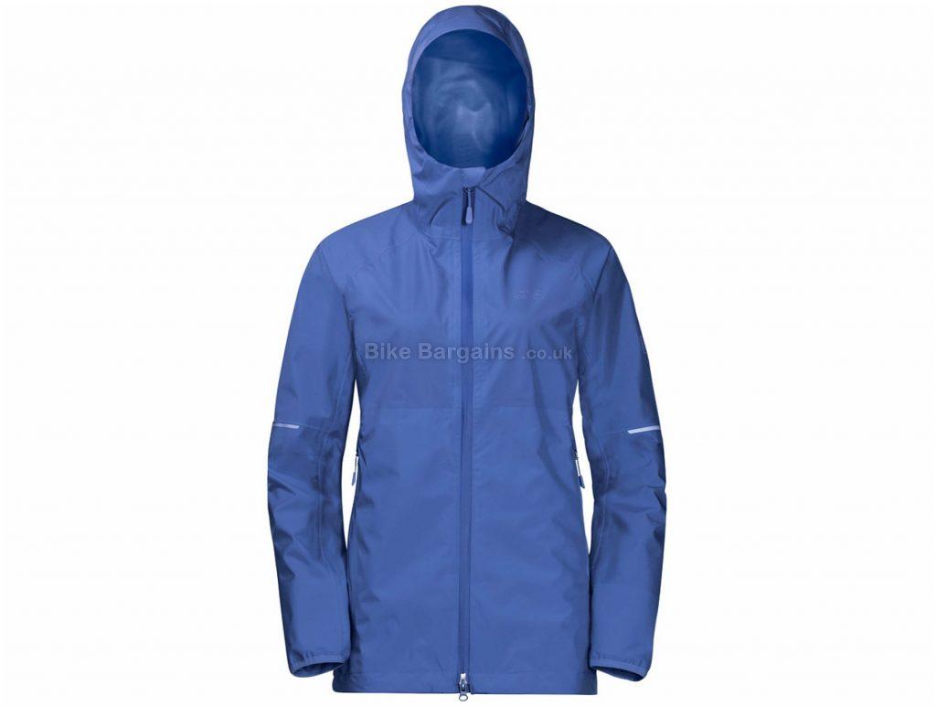Jack Wolfskin Ladies Sierra Pass Jacket XS, Blue, Lightweight, 100% Recycled, Waterproof, Windproof, Ladies, Long Sleeve, Polyester