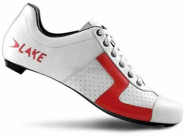 Lake CX 1 Nylon Road Shoes 45, White, Red, Nylon & Fibreglass Sole, Laces Closure, Road Usage