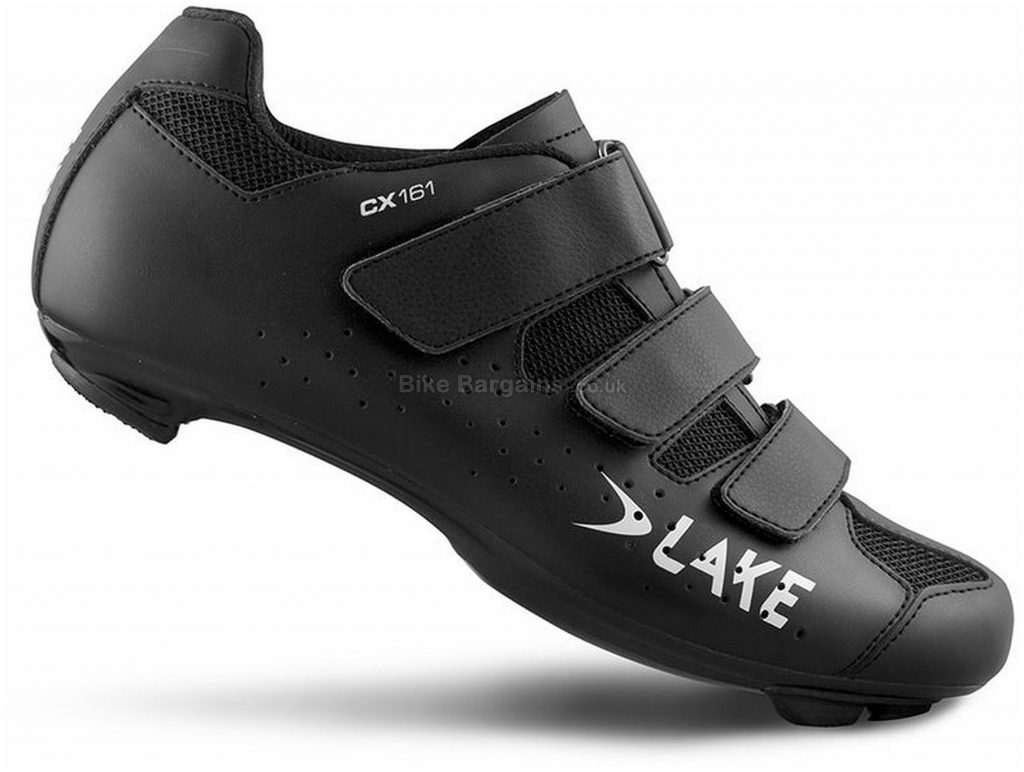 Lake CX 161 Road Shoes 41,42,43,44, Black, Nylon & Fibreglass Sole, Velcro Closure, Road Usage
