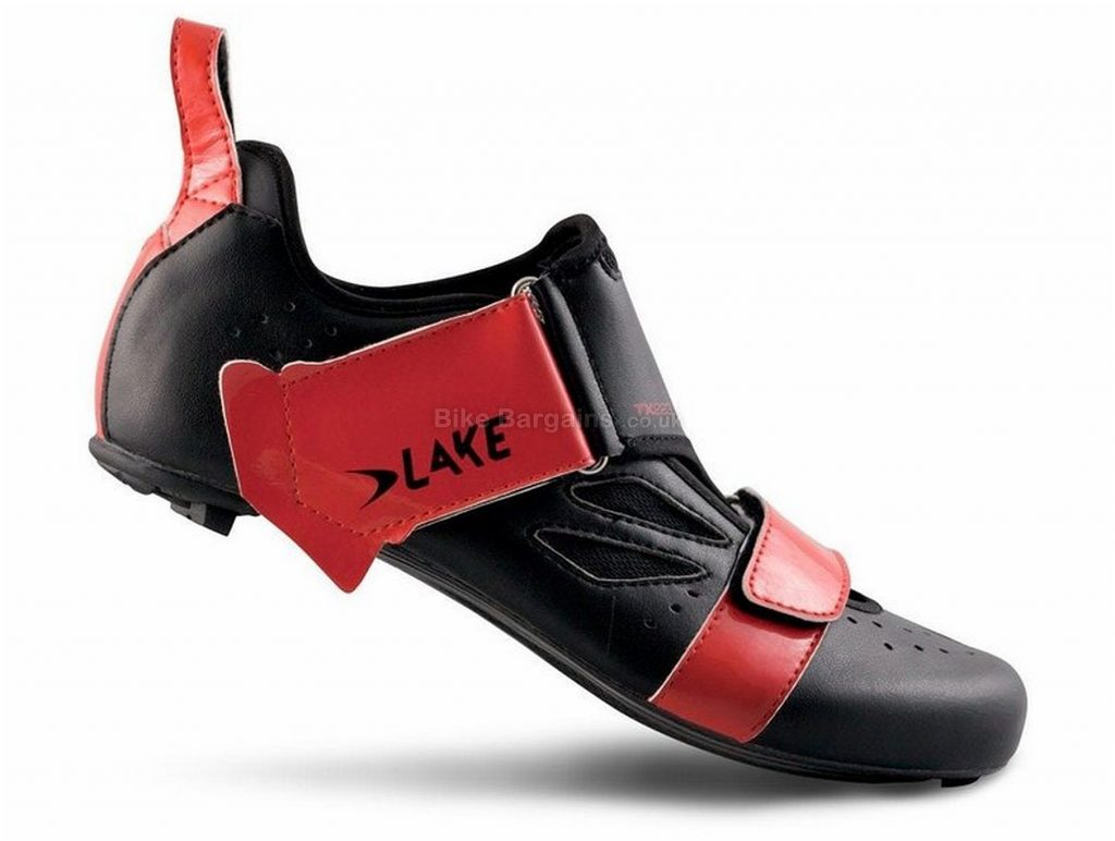 Lake TX 223 Triathlon Shoes 42,43,44,45,46, Black, Red, Carbon Sole, Velcro Closure, Triathlon & Road Usage