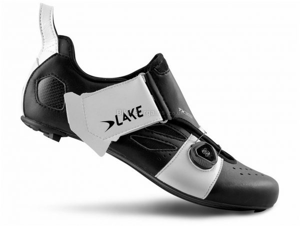 Lake TX 332 Triathlon Shoes 41,42,43,45, Black, White, Carbon Sole, Velcro & Boa Closure, Triathlon & Road Usage