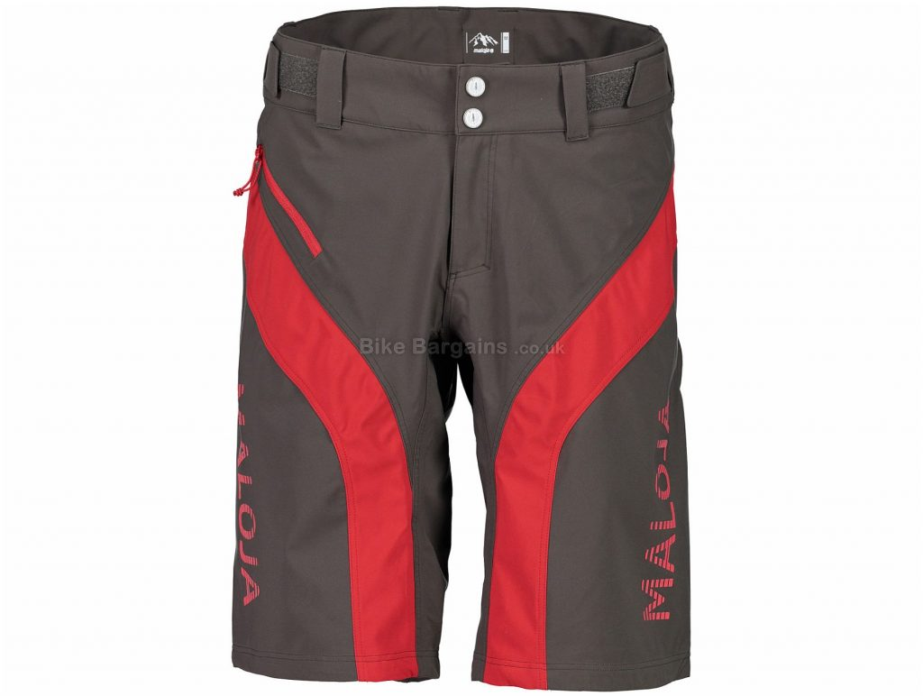 Maloja MansfieldM. Freeride Baggy Shorts S, Grey, Red, Windproof, Highly Breathable, Baggy, Men's, Polyester