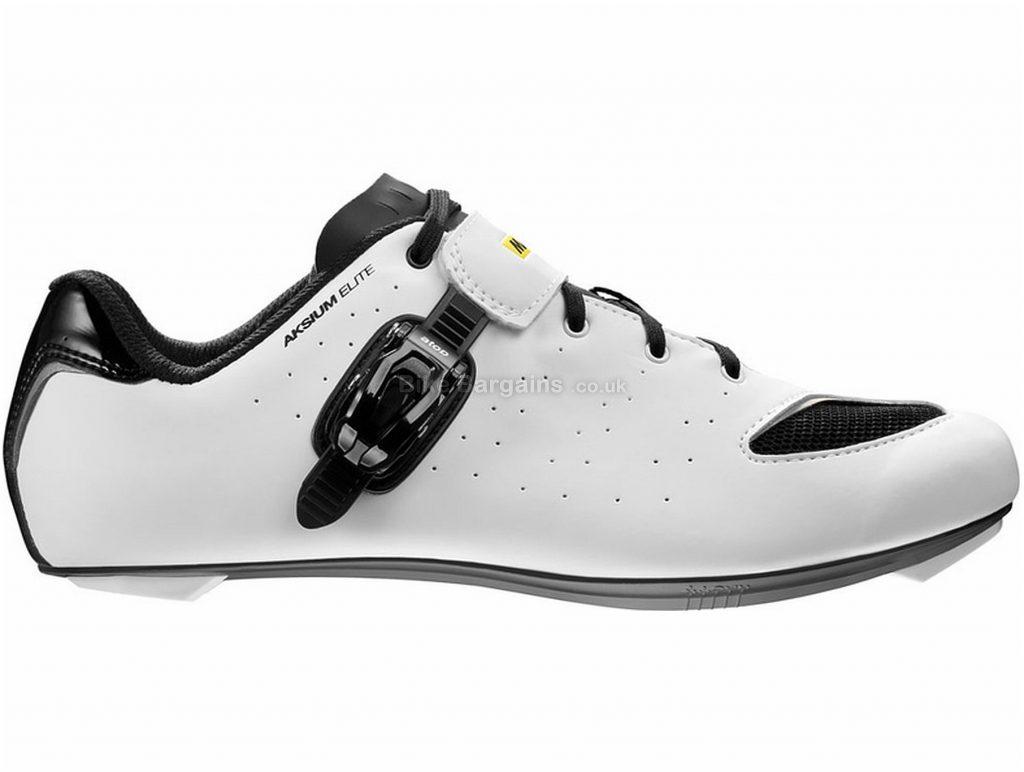 Mavic Aksium Elite Road Shoes 47, White, Black, Nylon & Fibreglass Sole, weighs 270g, Buckle & Laces Closure, Road Usage