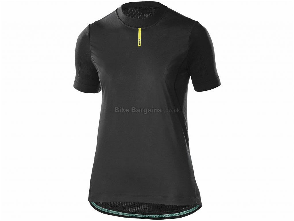 Mavic Ladies Wind Ride Short Sleeve Base layer XL,XXL, Black, Wind Protection, Short Sleeve, Polyester, Polyamide, Elastane
