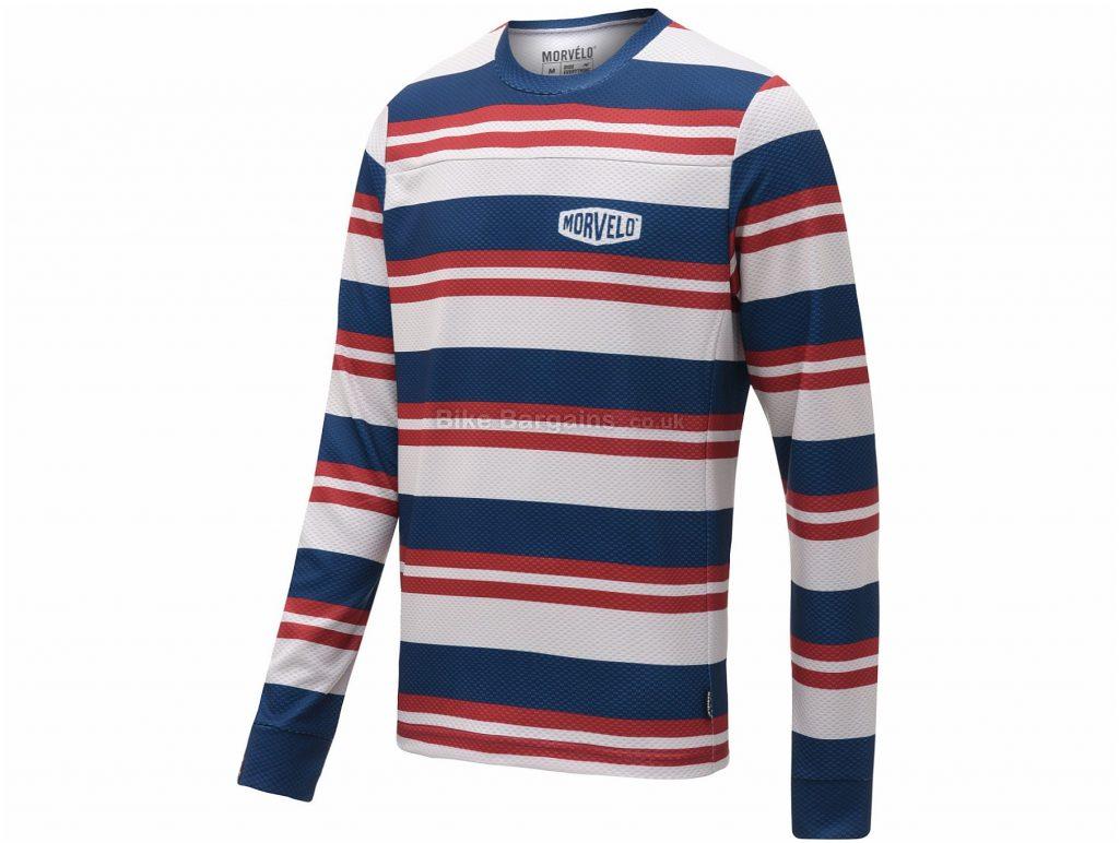 Morvelo Bucket MTB Long Sleeve Jersey XS, Red, White, Blue, Long Sleeve, Polyester, Men's