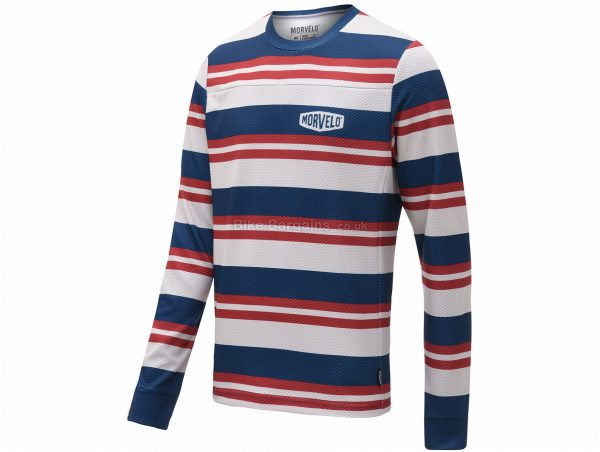 Morvelo Bucket MTB Long Sleeve Jersey XS, Red, White, Blue, Long Sleeve, Polyester, Men's