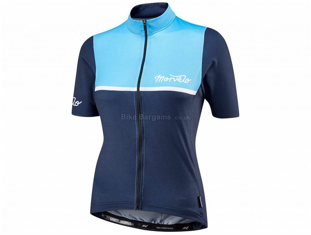 Morvelo Ladies Kuler Short Sleeve Jersey XL, Blue, 3 Large Rear Pockets, Ladies, Short Sleeve, Polyester