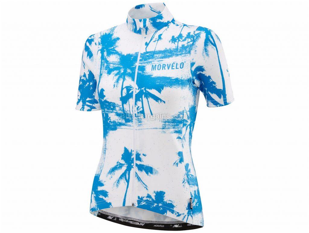 Morvelo Ladies Merino Short Sleeve Jersey XS, White, Blue, Breathable, Lightweight, Ladies, Short Sleeve, Polyester, Merino, Wool