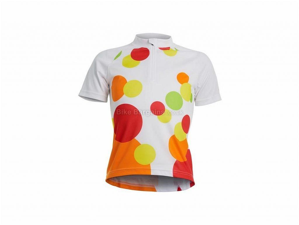 Polaris Spot Girls Short Sleeve Jersey 2017 S,XL, White, Orange, Red, Two Rear Pockets, Short Sleeve, Polyester, Elastane, Road, MTB