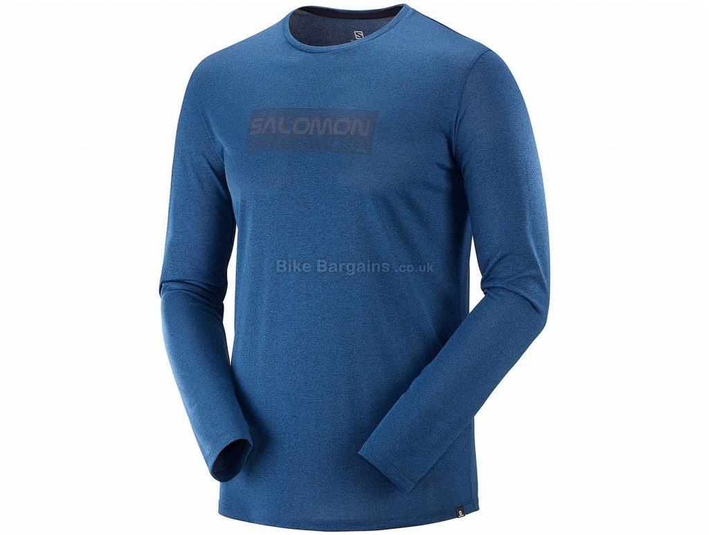 Salomon Agile Graphic Long Sleeve T-Shirt XXL, Blue, Lightweight, Fast Drying, Long Sleeve, Polyester