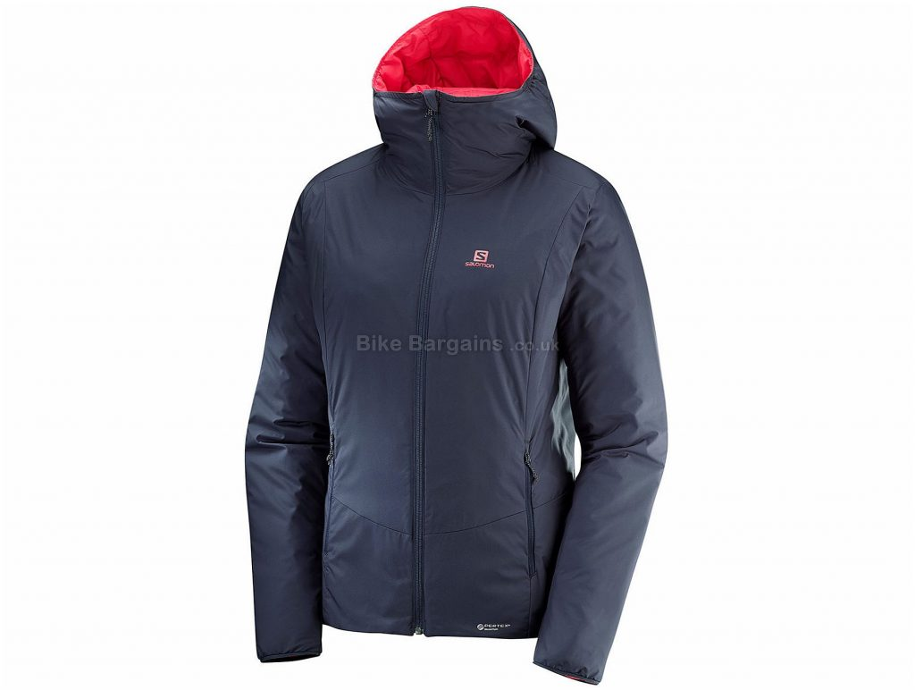 Salomon Ladies Drifter Loft Jacket XS, Grey, Red, Winter Jacket, Long Sleeve, Polyamide, Elastane, Polyester