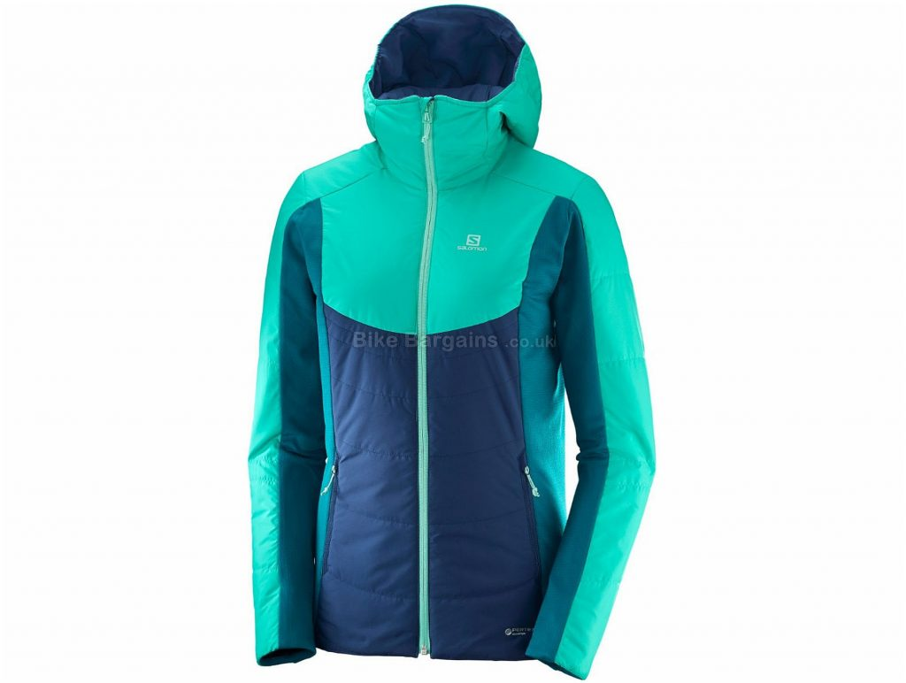 Salomon Ladies Drifter Mid Jacket XS, Blue, Turquoise, Windproof And Breathable, Long Sleeve, weighs 464g, Polyester