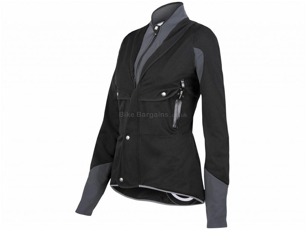 Santini Blackwater Ladies Jacket M, Black, Grey, Windproof, Breathable, Long Sleeve, Polyester