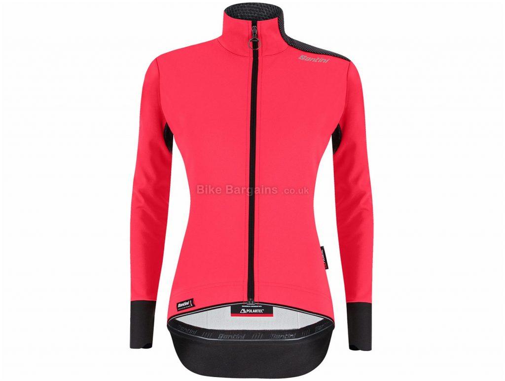 Santini Ladies Vega Xtreme Winter Jacket XS, Red, Black, Windproof, Highly Water-Resistant, Long Sleeve, Polyester, Elastane