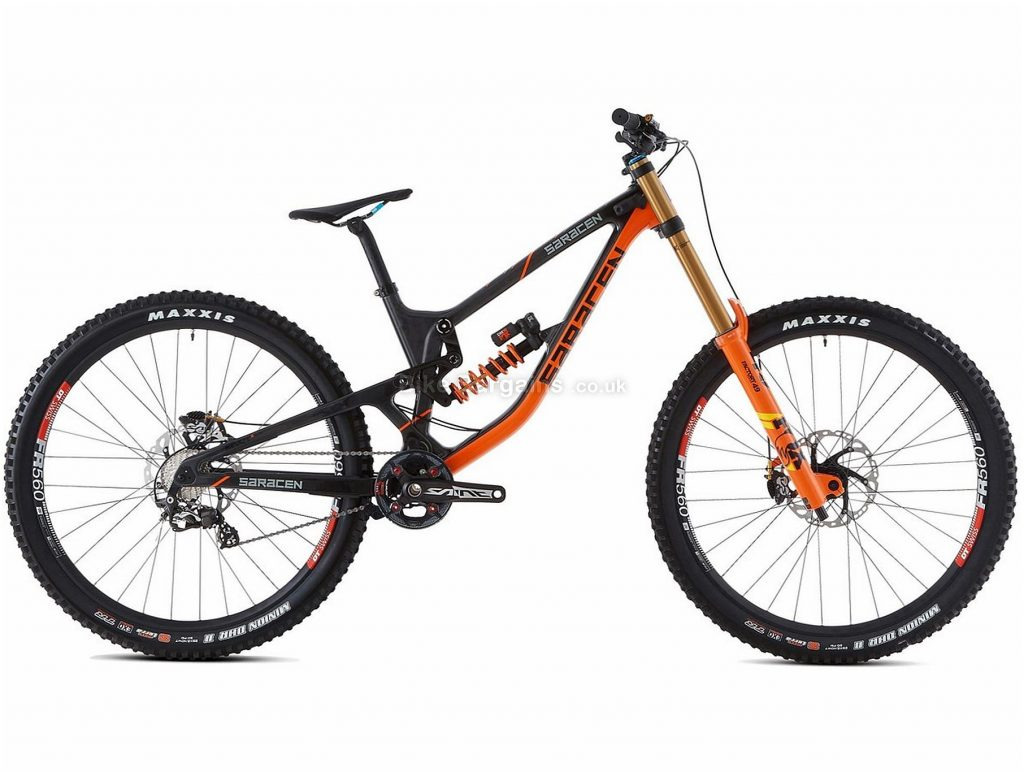 "Saracen Myst Team 27.5"" Downhill Full Suspension Mountain Bike 2019 M, Black, Orange, Carbon Frame, Disc Brakes, 10 Speed, Single Chainring, 27.5"" Wheels"