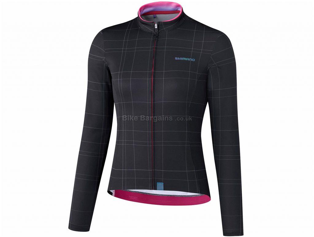 Shimano Ladies Kaede Thermal Long Sleeve Jersey L, Black, Pink, Thermal Fabric, Ladies, Long Sleeve, Polyester