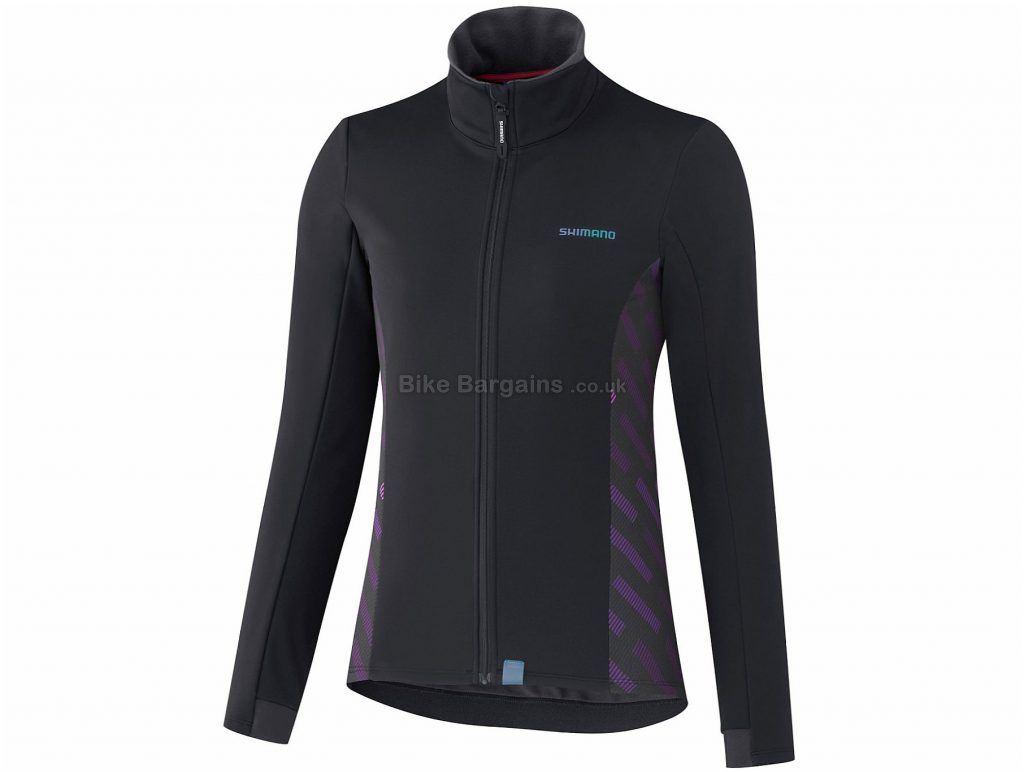 Shimano Ladies Kaede Wind Jacket XL, Black, Grey, Windproof, Water Repellent Finish, Ladies, Long Sleeve, Polyester, Cotton