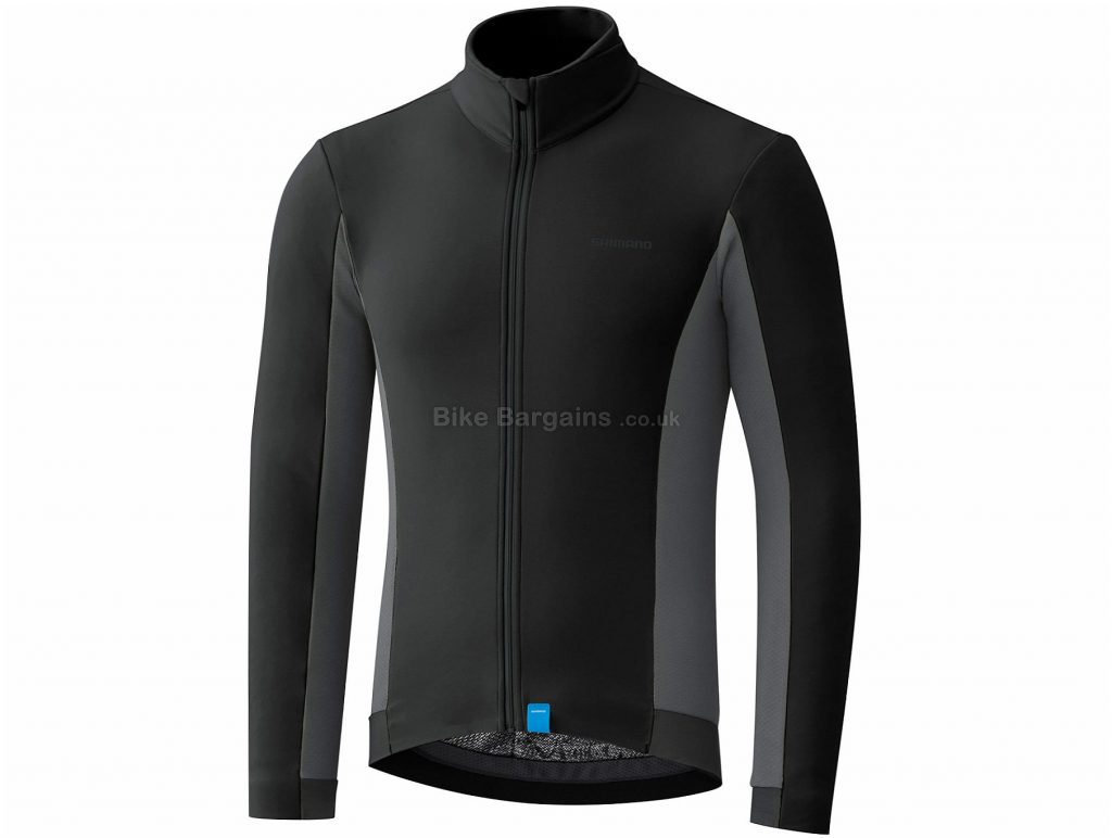 Shimano Thermal Long Sleeve Jersey S, Black, Grey, Water-Repellent, Thermal, Men's, Long Sleeve, Polyester, Elastane