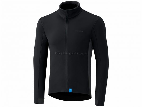 Shimano Wind Long Sleeve Jersey S, Black, Windproof Front, Men's, Long Sleeve, Polyester, Elastane