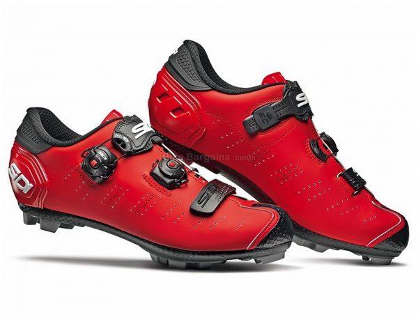 Sidi Dragon 5 SRS Matt MTB Shoes 41, Red, Black, Carbon Sole, Buckle, Velcro & Boa Closure, MTB Usage
