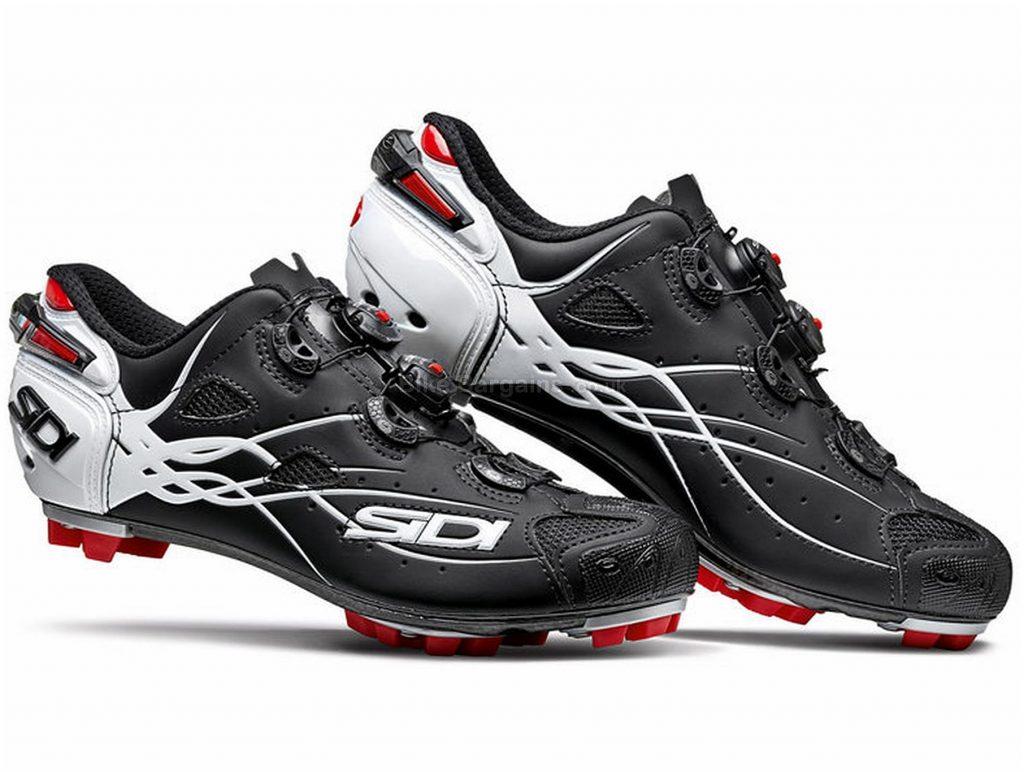 Sidi Tiger Carbon MTB Shoes 46, Black, White, Red, Carbon Sole, Velcro & Boa Closure, MTB Usage