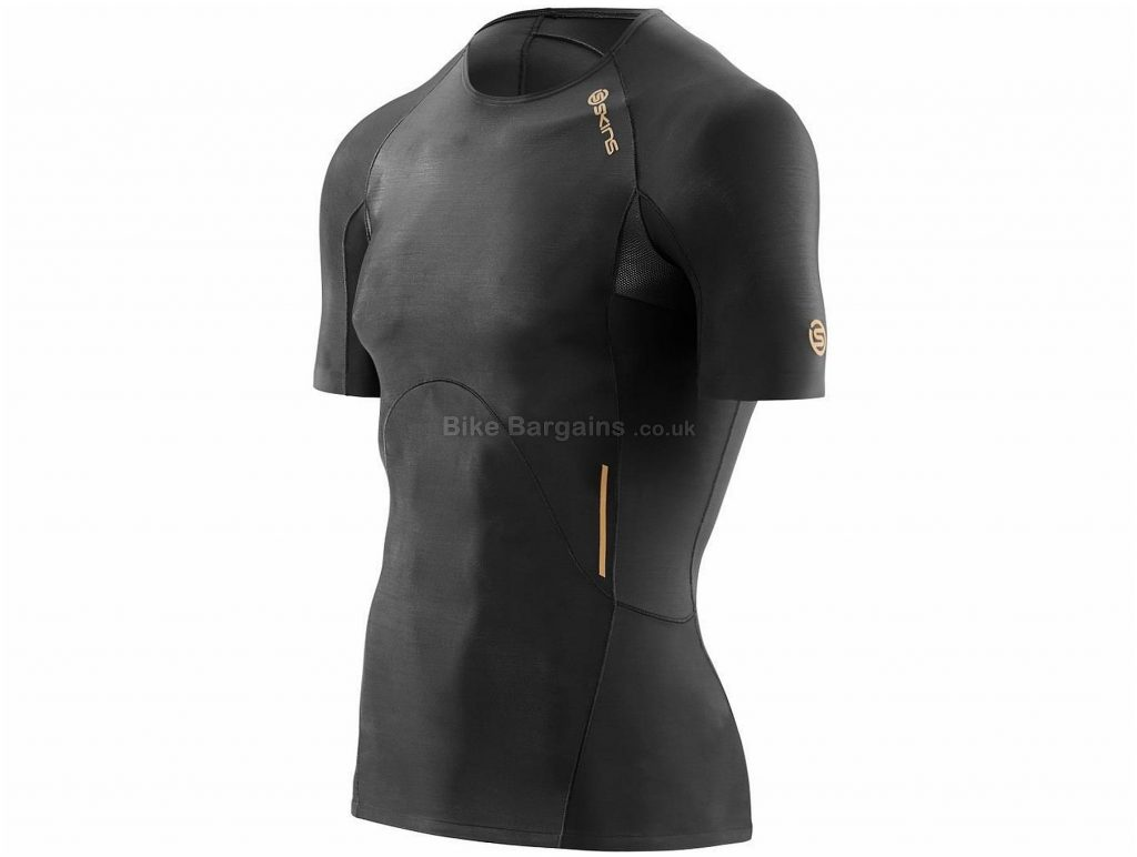 Skins A400 Compression Short Sleeve Base layer M, Black, Compression Fit, Men's, Short Sleeve, Polyester, Elastane, Road, MTB