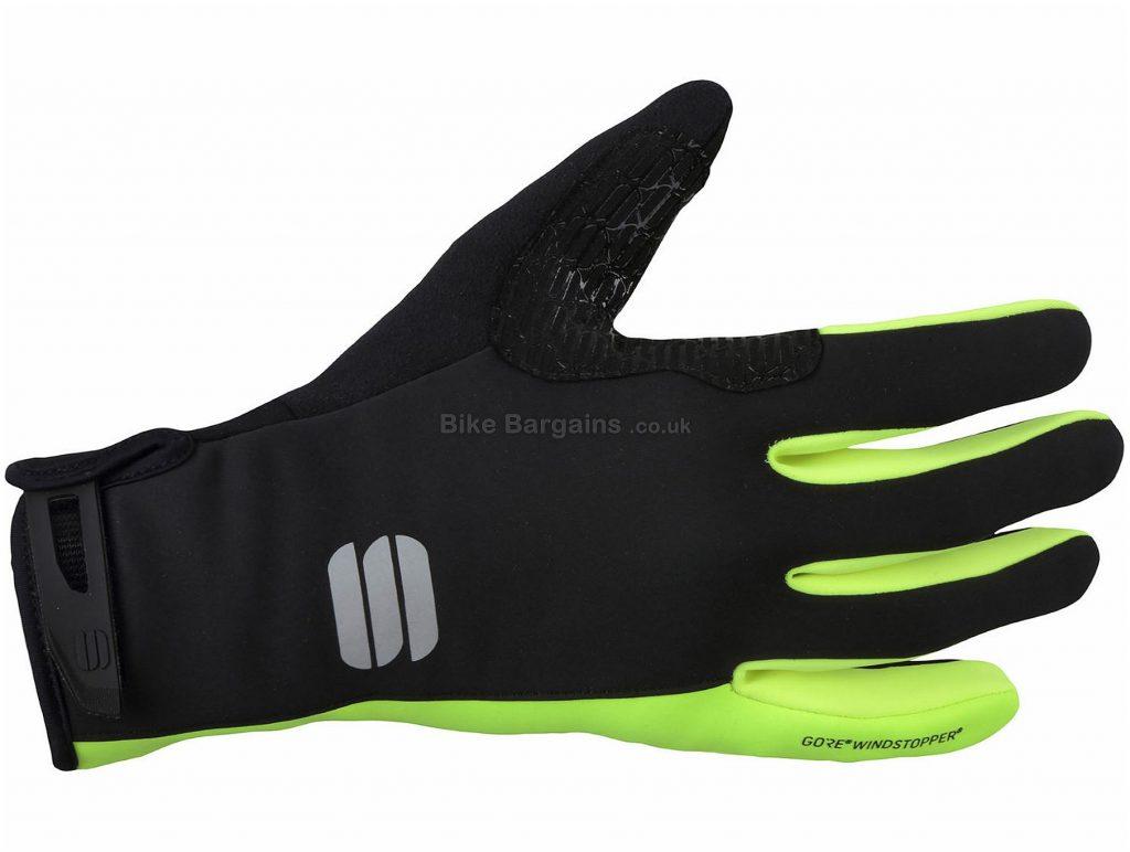 Sportful Essential 2 Windstopper Gloves XXL, Yellow, Black, Velcro Fastening, Full Finger, Men's, Polyester, Polyamide, Polyurethane, Elastane