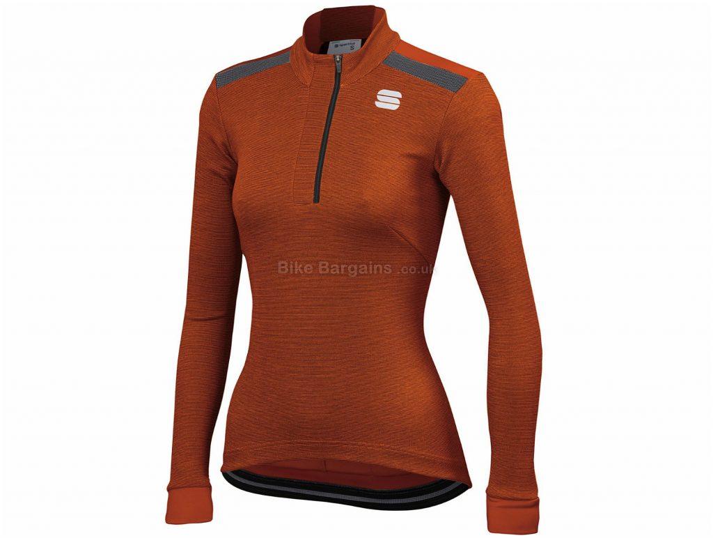 Sportful Ladies Giara W Warm Long Sleeve Jersey XS, Grey, Green, Black, Thermal, Breathable, Long Sleeve, Ladies, Polyester, Elastane
