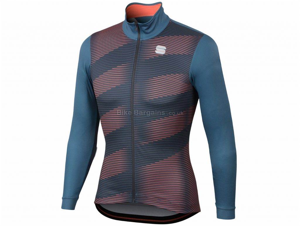 Sportful Moire Thermal Long Sleeve Jersey S, Blue, Pink, Lightweight Thermal Fabric, Long Sleeve, Men's, Polyester