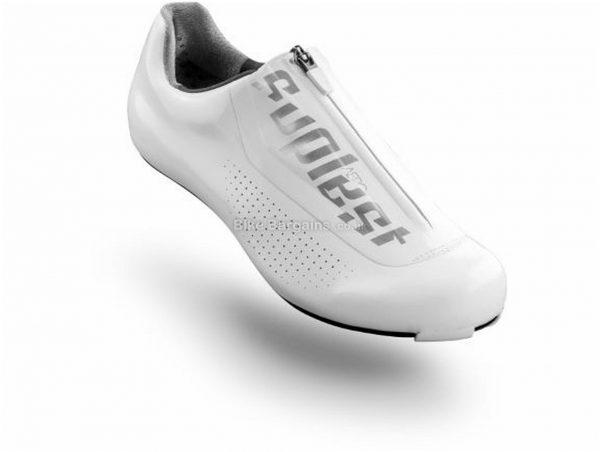 Suplest Edge3 Aero Road Shoes 47, White, Black, Carbon Sole, weighs 230g, Laces & Zip Closure, Road Usage