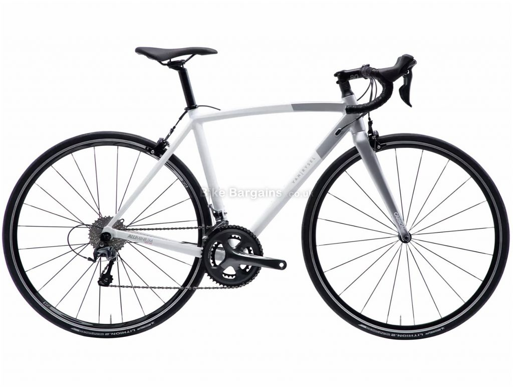 Van Rysel Ladies Ultra RCR AF Tiagra Road Bike XS, Grey, White, Alloy Frame, 20 Speed, Caliper Brakes, Double Chainring, 9.1kg, 700c Wheels