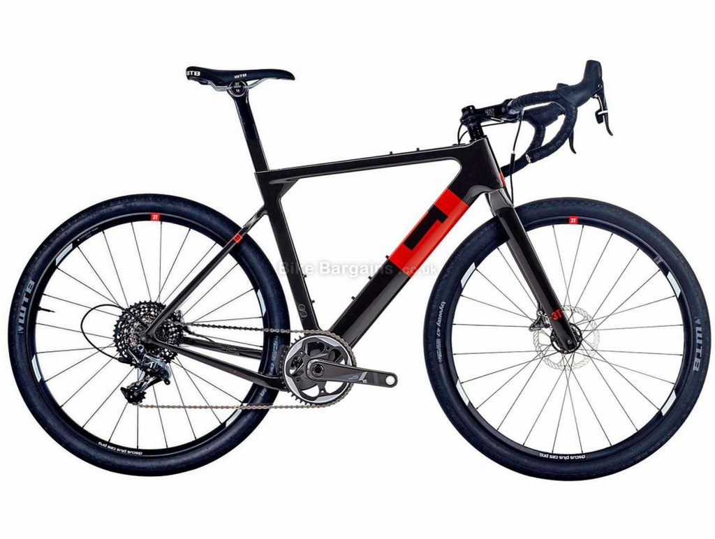 3T Exploro Team Force Carbon Gravel Bike XL, Black, Red, Carbon Frame, Disc Brakes, 11 Speed, 650c Wheels, Single Chainring