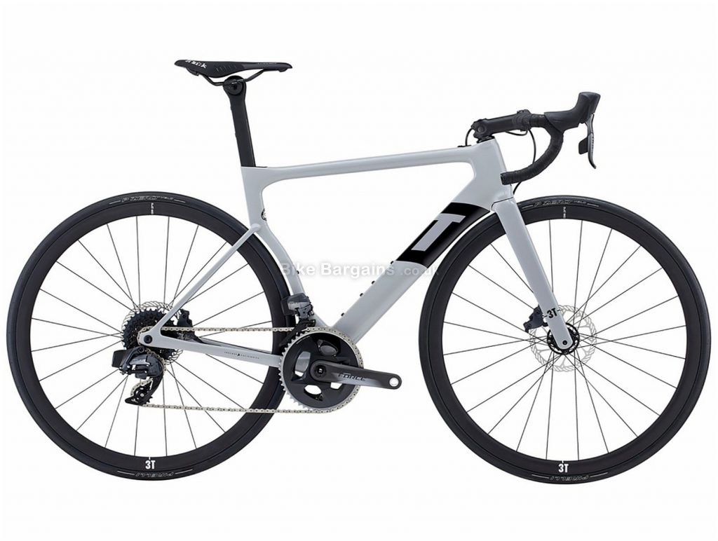 3T Strada Due Team Force AXS eTap Aero Carbon Road Bike L, Grey, Carbon Frame, Disc Brakes, 24 Speed, 700c Wheels, Double Chainring