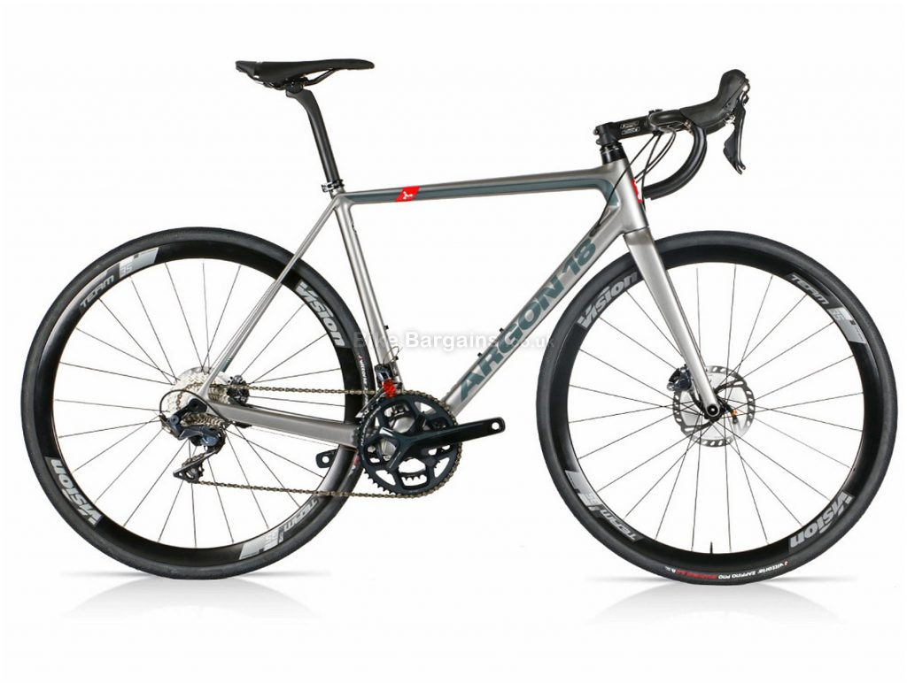 Argon 18 Gallium Disc Ultegra Carbon Road Bike M,L,XL, Silver, Grey, Carbon Frame, Disc Brakes, 22 Speed, 700c Wheels, Double Chainring