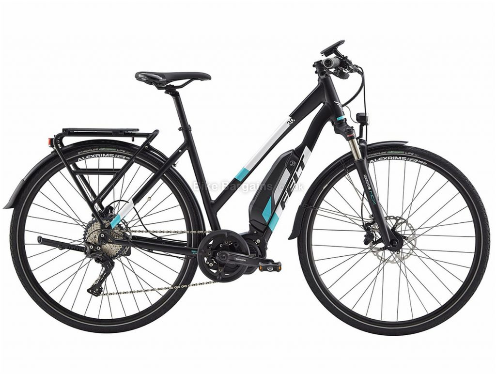 Felt Sport-e 30 EQ Ladies Alloy Hybrid Electric Bike 44cm,49cm, Black, White, Blue, Alloy Frame, Disc Brakes, 11 Speed, 700c Wheels, Single Chainring