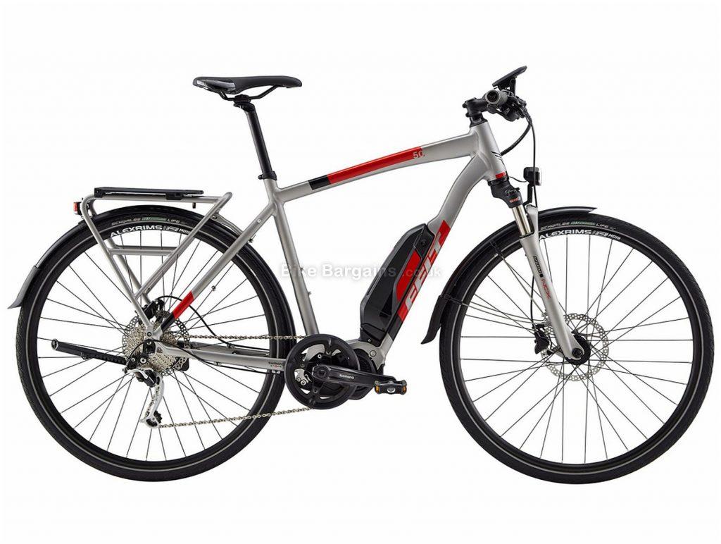 Felt Sport-e 50 EQ Alloy Hybrid Electric Bike 44cm,48cm,55cm,58cm, Silver, Red, Black, Alloy Frame, Disc Brakes, 9 Speed, 700c Wheels, Single Chainring