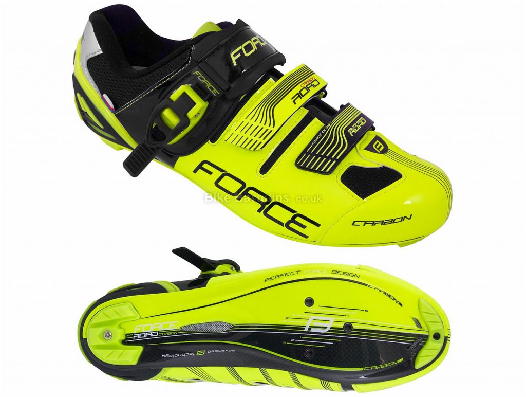 Force Carbon Road Shoes 38,39, Yellow, Black, Carbon Sole, 535g, Buckle & Velcro fastening