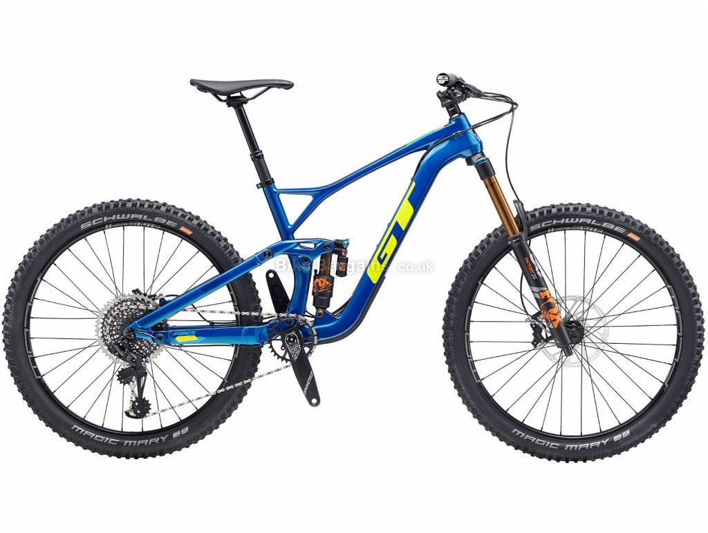 "GT Force Carbon Pro 27.5 Full Suspension Mountain Bike 2020 XL, Blue, Yellow, 12 Speed, Carbon Frame, Disc Brakes, 27.5"" wheels"