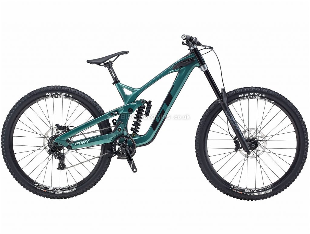"GT Fury Pro 29 Carbon Full Suspension Mountain Bike 2020 M, Green, Black, 11 Speed, Carbon Frame, Disc Brakes, 29"" wheels"