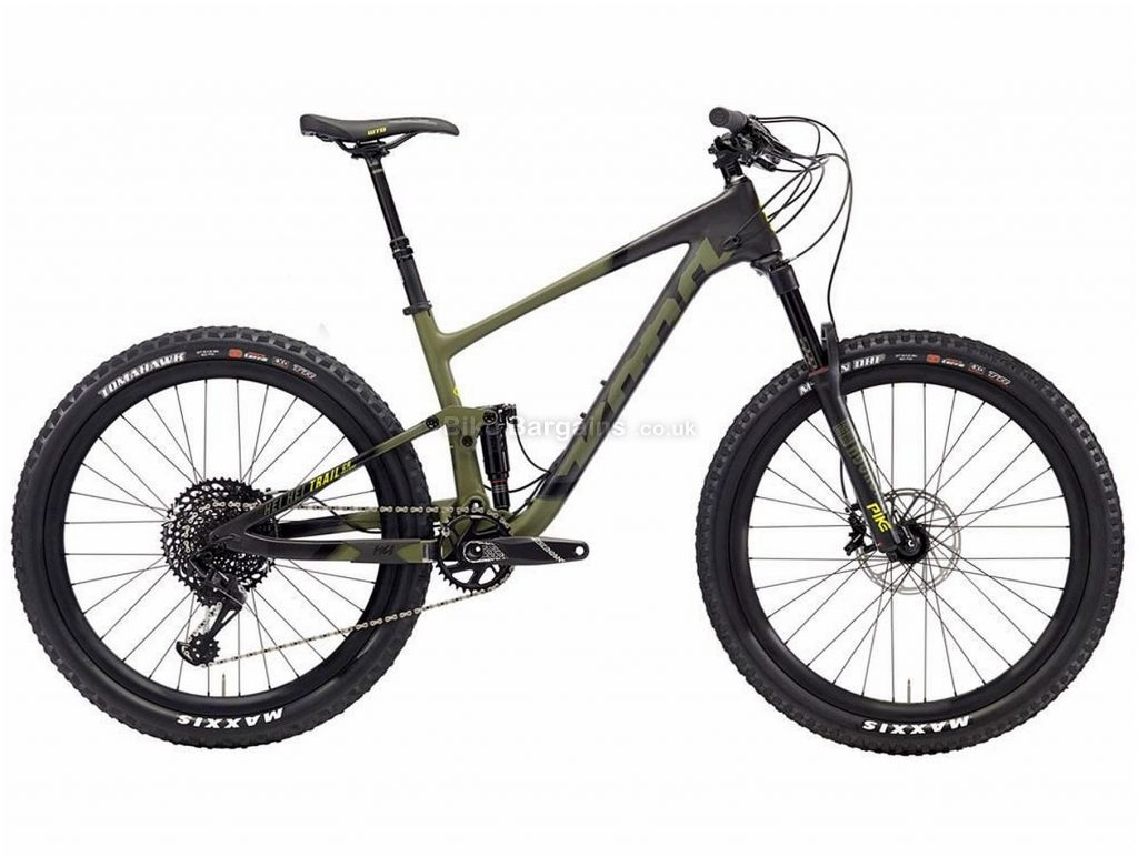 "Kona Hei Hei Trail Cr/dl 27.5 Carbon Full Suspension Mountain Bike 2018 XS,S,M,L,XL, Black, Green, 27.5"", Disc Brakes, Full Suspension, 12 Speed, Carbon"